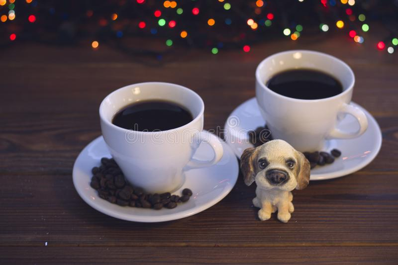 Christmas still life with two coffee cups with saucers stock photo