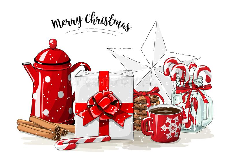 Christmas still-life, white gift box wit red ribbon, red tea pot, cookies, glass jar with candy canes, cinnamon sticks. And cup of coffee on white background royalty free illustration
