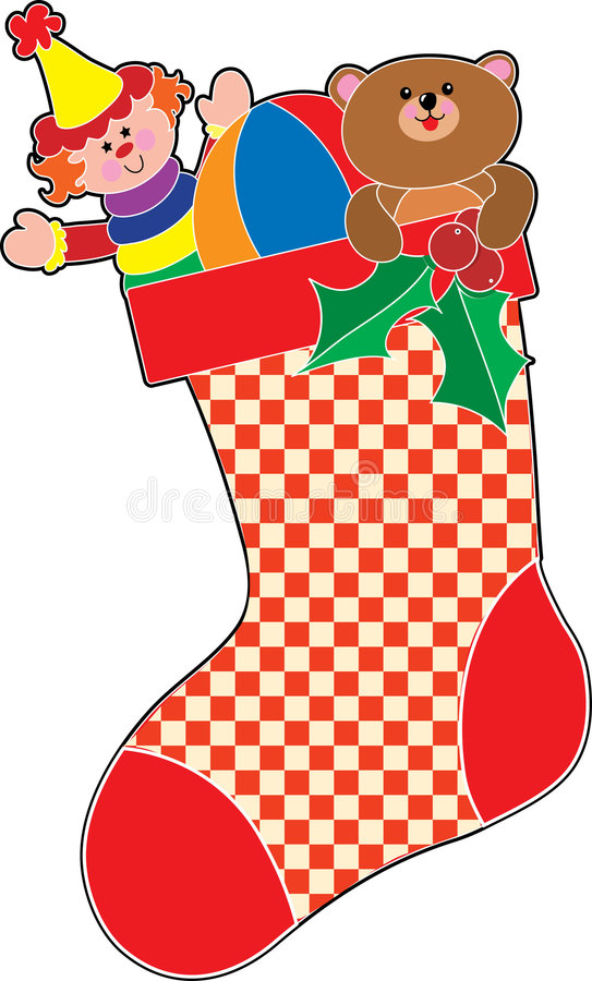 Christmas Stocking. Filled with lots of toys royalty free illustration