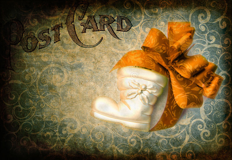 Christmas stocking and bow royalty free stock images