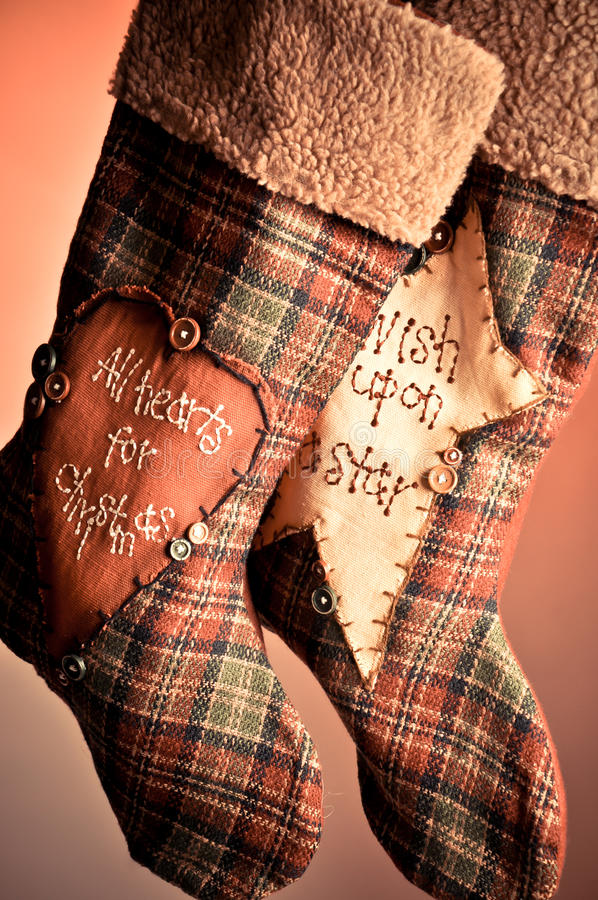 Christmas stocking couple royalty free stock photos