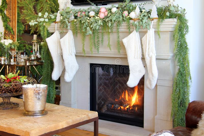 Christmas stocking on the fireplace stock photography