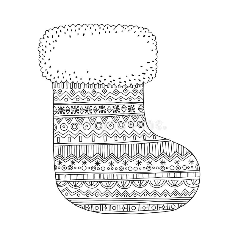 download christmas stocking for gifts black and white illustration for coloring pages stock vector