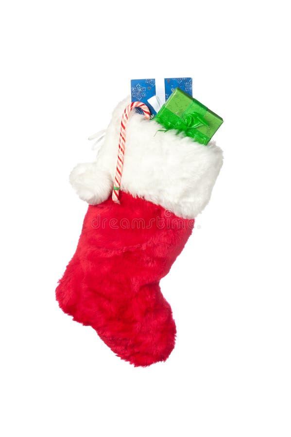 Christmas stocking isolated on white royalty free stock photo