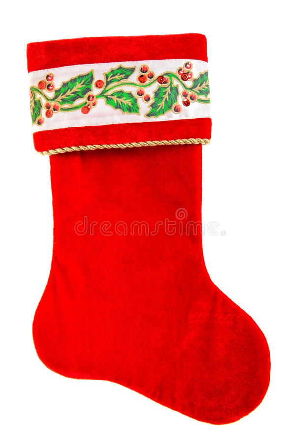 Free Christmas Stocking. Red Sock For Santa S Gifts Isolated On White Royalty Free Stock Images - 61925349