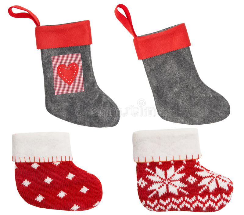 Christmas Stocking, Red Sock Hanging Isolated White Background stock photography