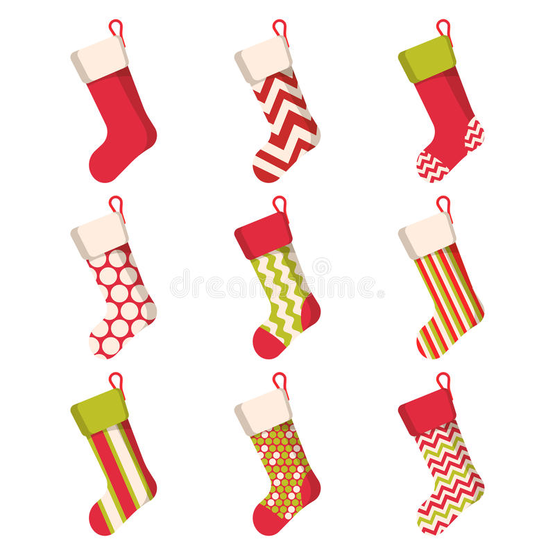Christmas stocking set on white background. Holiday Santa Claus winter socks for gifts. Cartoon decorated vector illustration