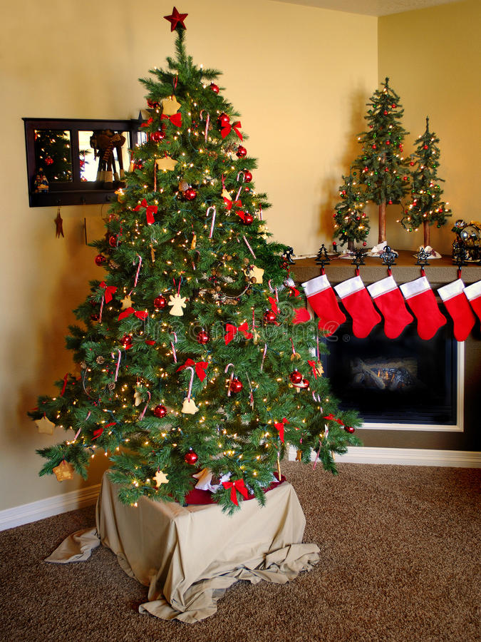 Christmas Stockings and Fireplace stock photo