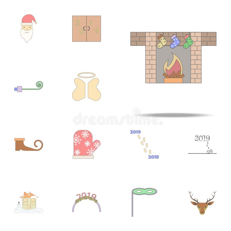 Christmas stockings on fireplace colored icon. Christmas holiday icons universal set for web and mobile. On white background stock illustration