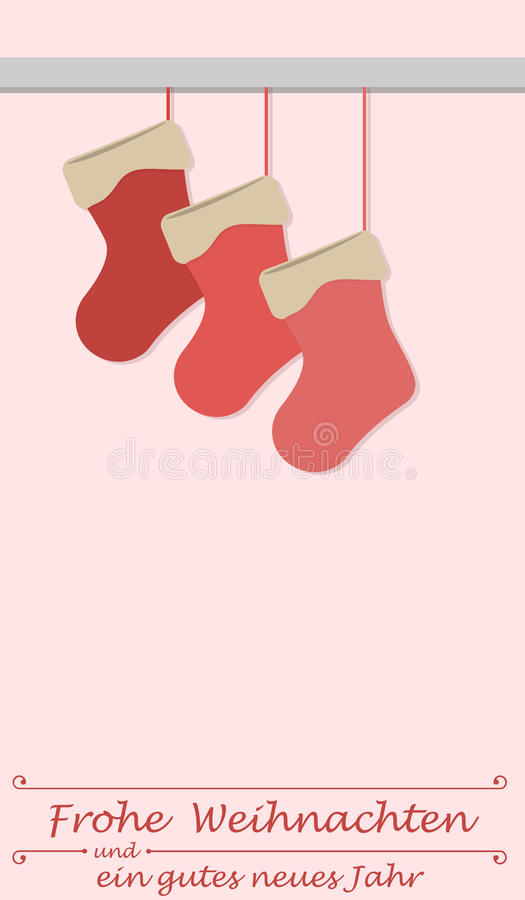 Christmas stockings and the german words for Merry Christmas and a happy new year. Christmas card royalty free illustration