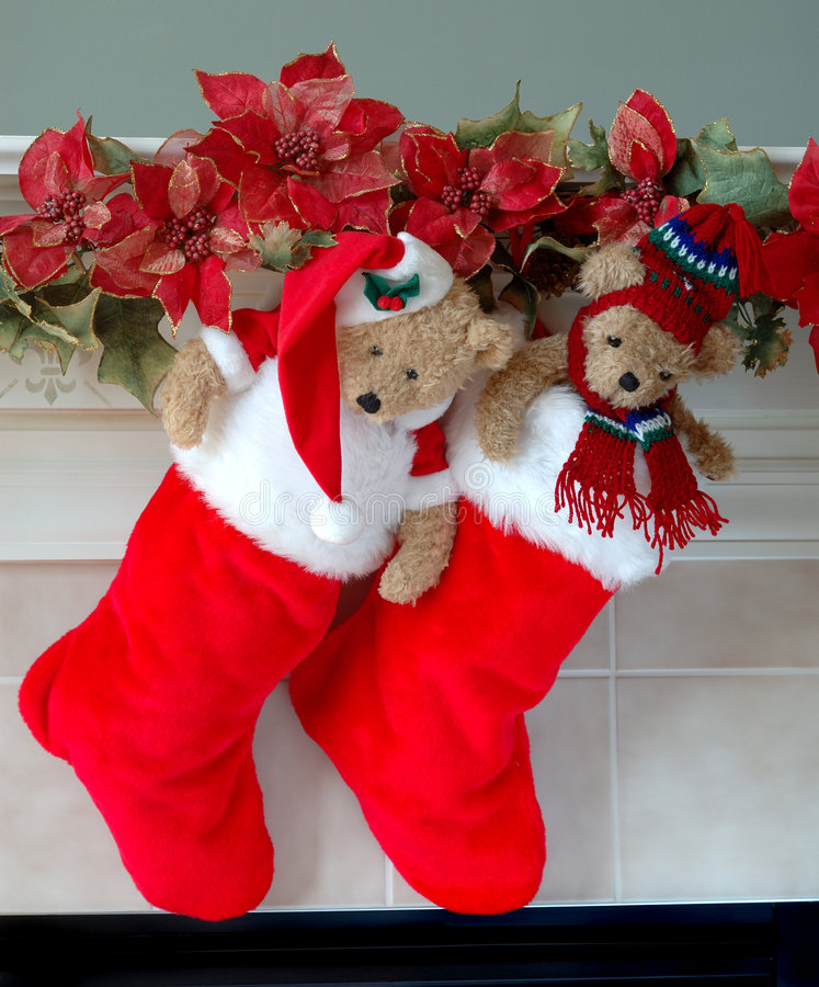 Christmas Stockings on the Mantle stock photo