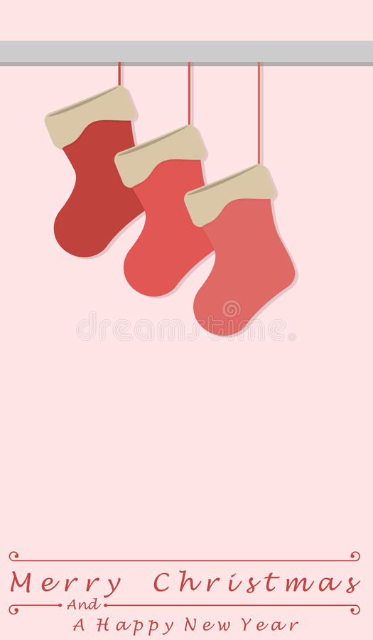 Christmas stockings and the words Merry Christmas and a happy new year. Christmas card vector illustration