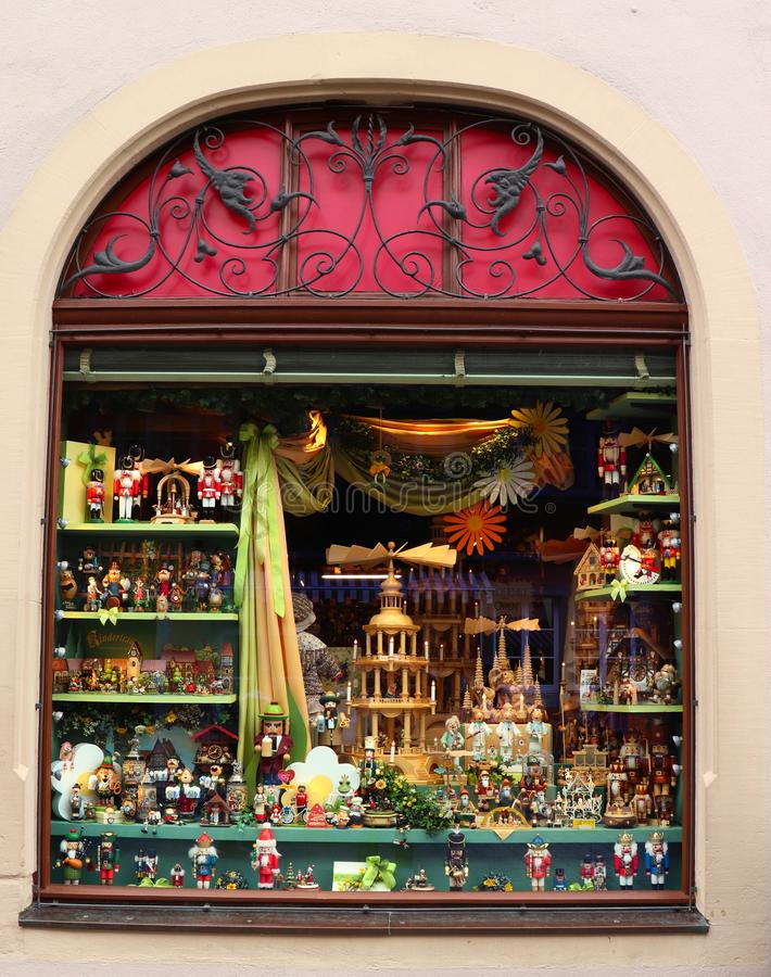 Christmas store in Rothenburg ob der Tauber stock images