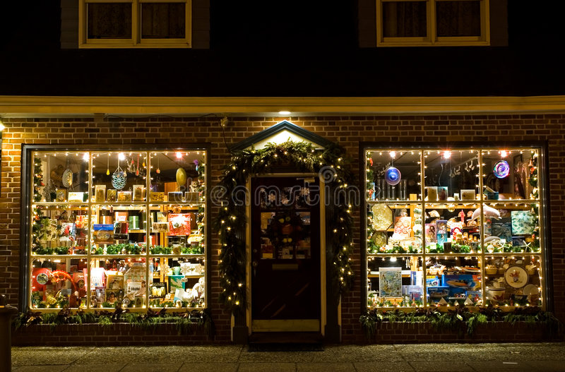 Christmas Storefront Stock Photography