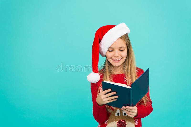 Christmas stories. Little reader copy space. Magic xmas spirit. Best Christmas book. Books store commercial. Little royalty free stock photography