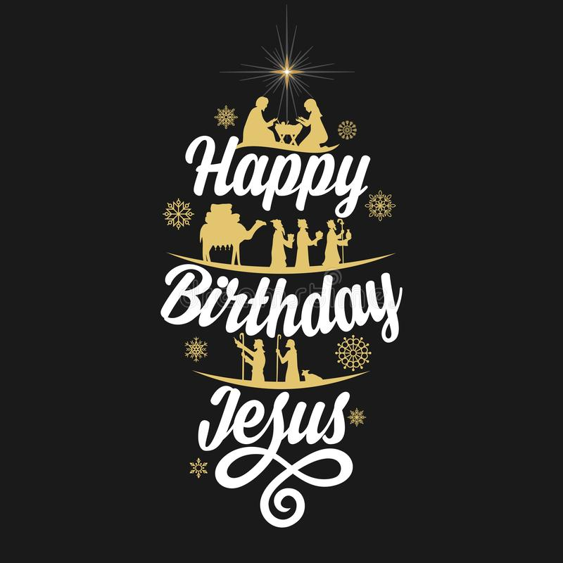 Christmas story. Biblical typography. The shepherds and the wise men go to Bethlehem to worship the King Jesus. Happy Birthday Jesus vector illustration