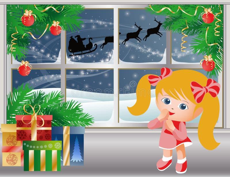 Download Christmas Story.Little Girl Looks On Santa Claus. Stock Illustration - Image: 16829813