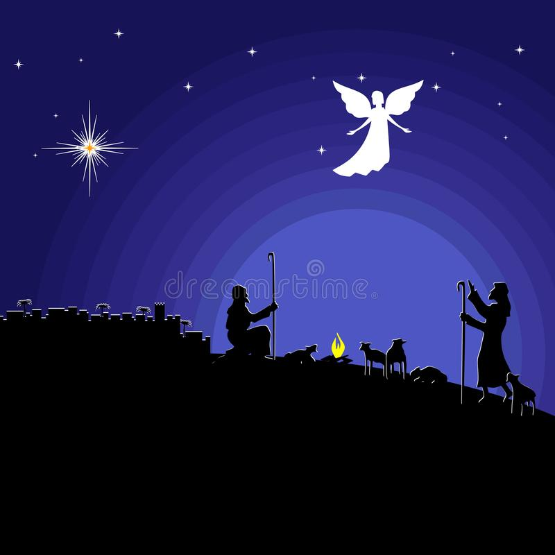 Free Christmas Story. Night Bethlehem. An Angel Appeared To The Shepherds To Tell About The Birth Of The Savior Jesus Into The World Royalty Free Stock Photos - 134632978