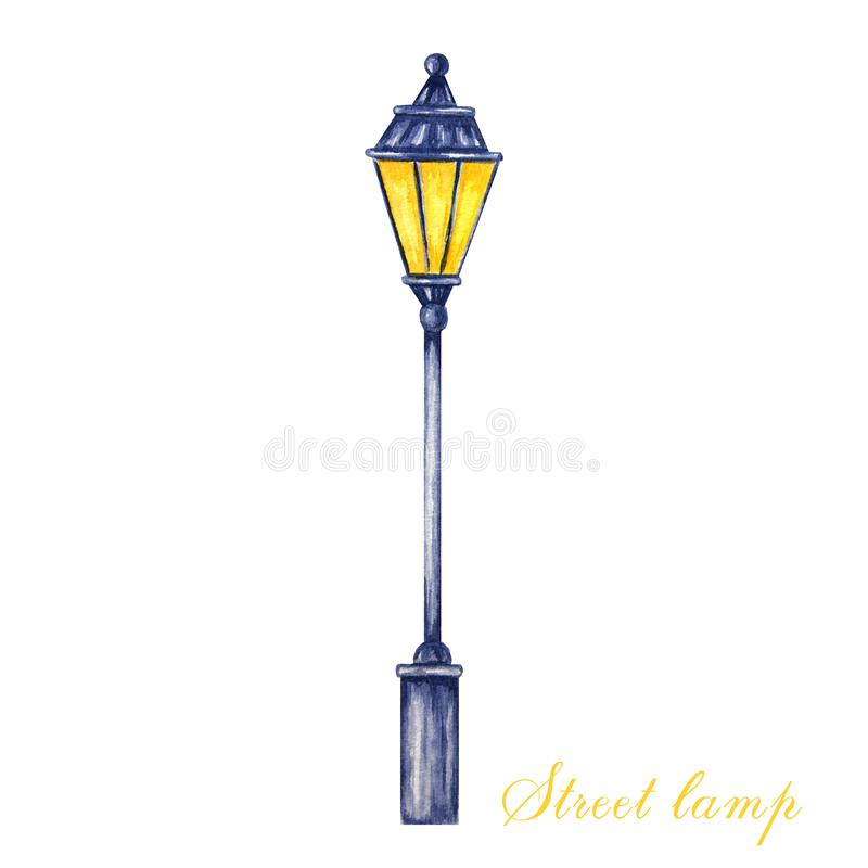 Christmas street lamp. Watercolor illustration Isolated on a white background. Anntique metal bright light lamp stock illustration