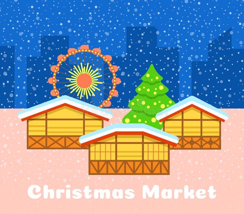 Christmas street market urban vector background stock image