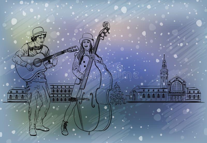 Christmas street performers stock illustration