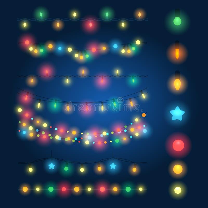 Christmas string lights. Vector illustration. Fairy xmas hanging lighting background stock illustration