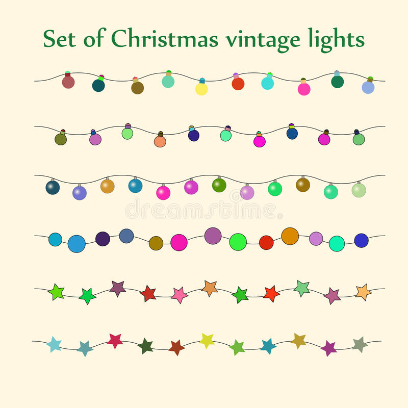 Download Christmas String Lights Vector Set Stock