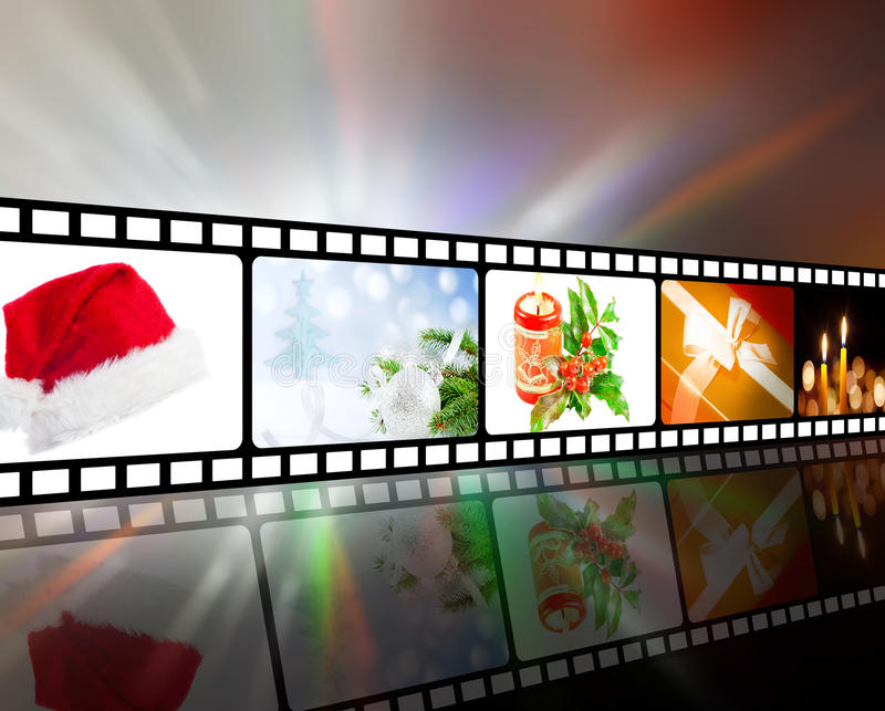 Christmas in strip film concept. Concept of christmas in strip film stock illustration