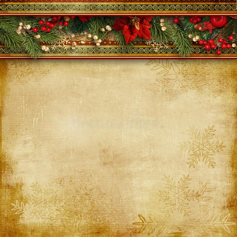 Christmas superb background with holly, poinsettia and firtree. Christmas vintage superb background with a border of holly, poinsettia and fir branches with copy stock photos
