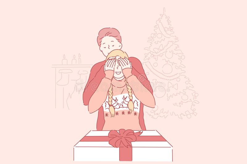 Christmas, surprise, family concept. Young man prepared a gift to his girlfriend closed her eyes with his hands for Christmas or new year at home. Loving vector illustration