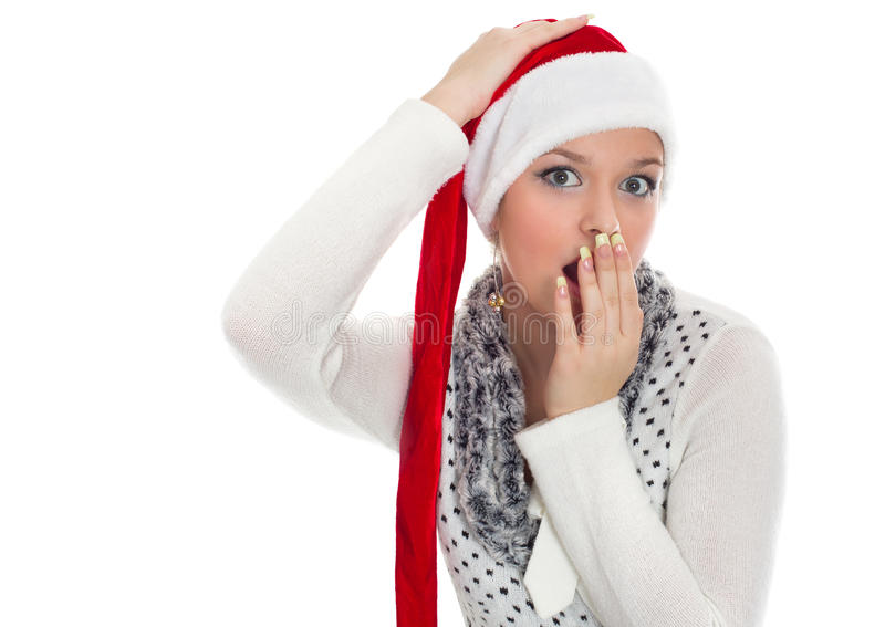 Christmas surprised girl. Isolated on white stock photos