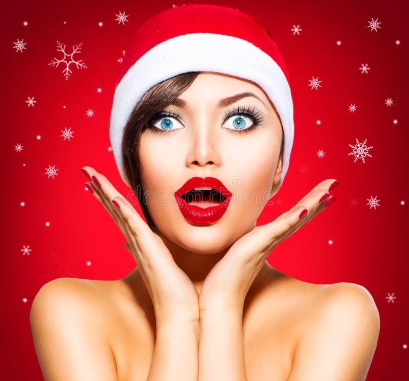 Christmas Surprised Winter Woman royalty free stock image