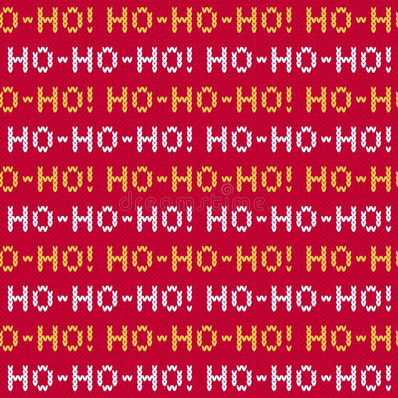Free Christmas Sweater Ho-ho-ho Lettering Seamless Pattern Royalty Free Stock Image - 199660206
