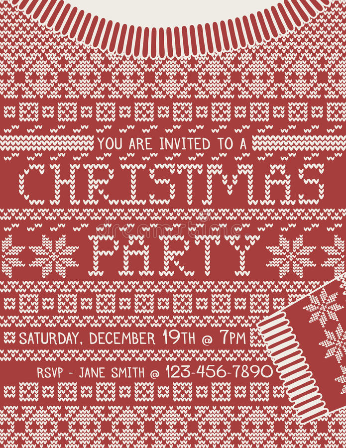 Christmas Sweater Party Invitation Template. Christmas Party invitation in the shape of a knitted Christmas sweater vector illustration