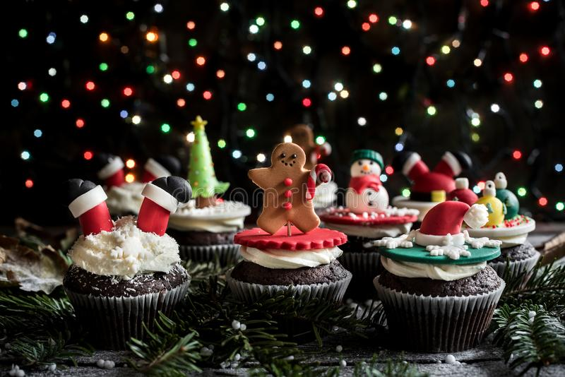 Christmas sweet cupcakes. On the table,selective focus stock photography