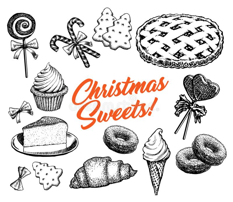 Christmas Sweets Cakes Collection Hand Drawn Elements Retro Vector Illustration royalty free illustration