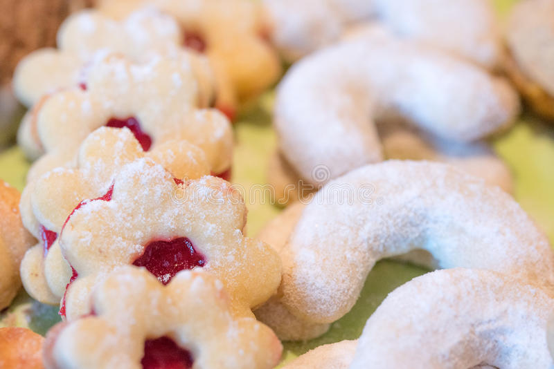Christmas sweets. Linzer cookies and vanilla crescents. Eat and relax stock photos