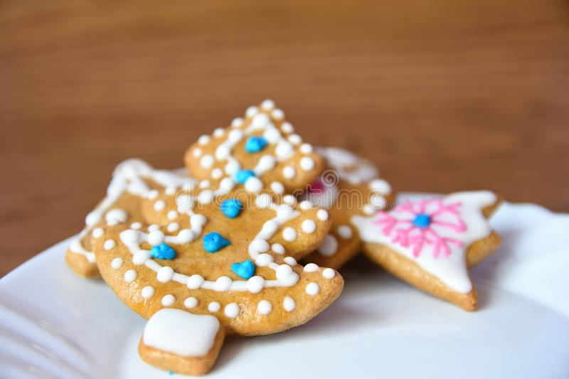 Christmas sweets. Traditional homemade handmade Czech sweets - Gingerbreads. stock photo