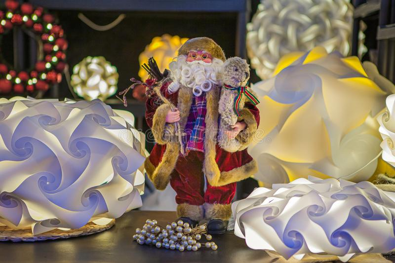 Festive Santa Claus, gives joy. stock photography