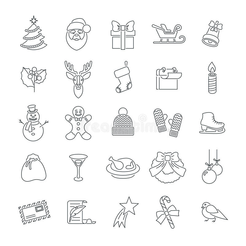 Christmas symbols flat line vector icons set. Winter holiday season conceptual design elements. Kids winter vacation fun and celebration illustrations for vector illustration