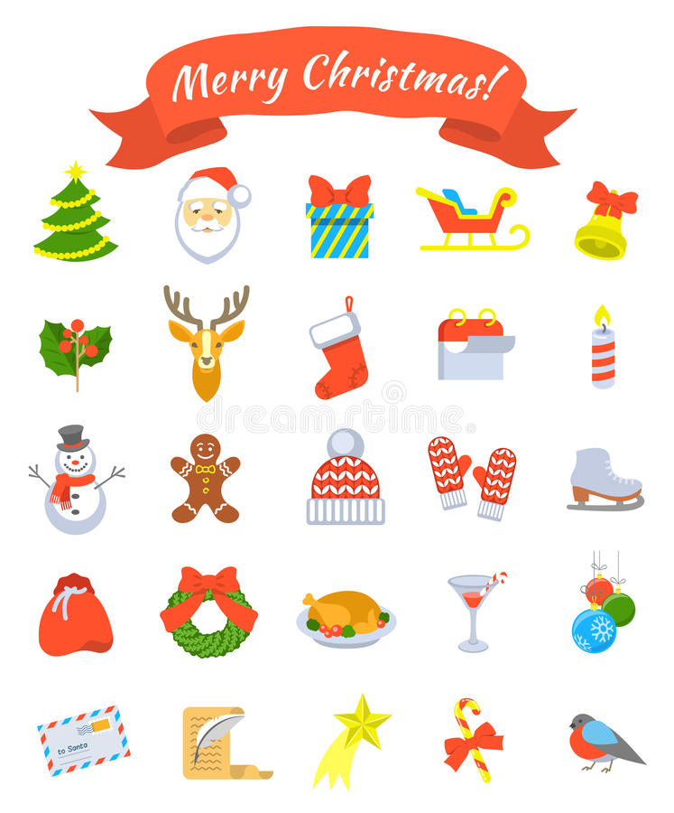 Christmas symbols flat vector icons set stock photography