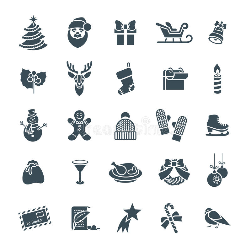 Christmas Symbols Flat Vector Silhouette Icons Set Stock Vector