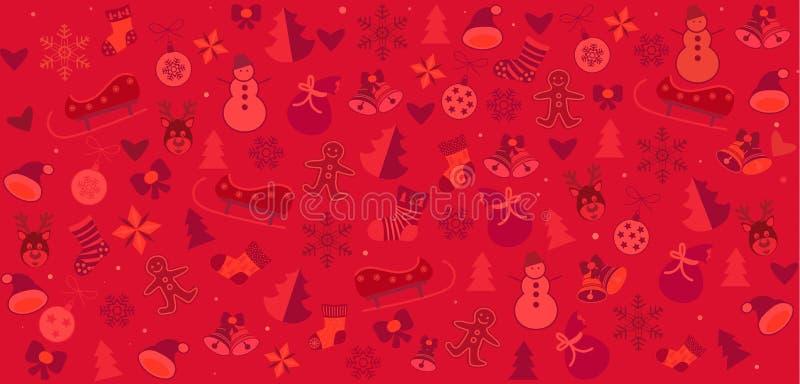 Christmas symbols red festive pattern royalty free illustration