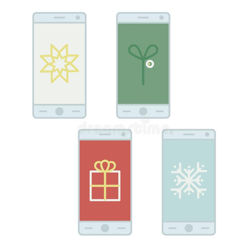 Christmas symbols on a smartphone screen royalty free stock photos