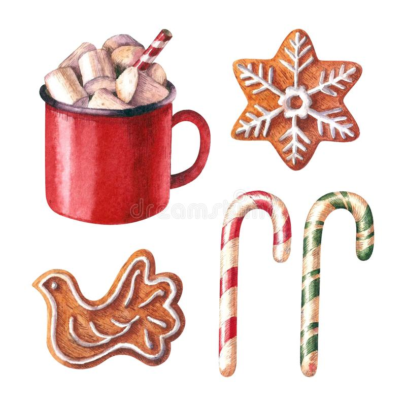 Christmas symbols watercolor collection isolated on white background. royalty free illustration