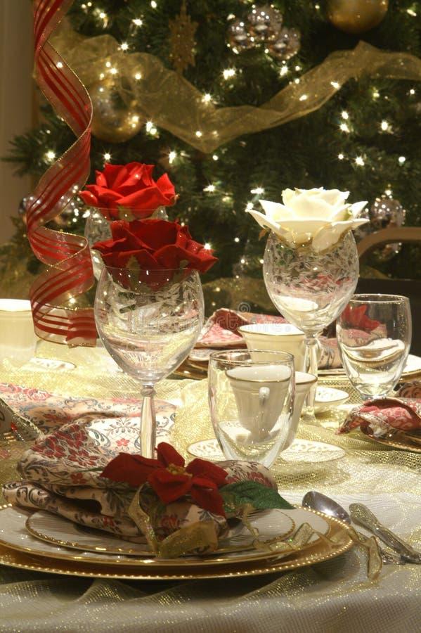 Christmas table stock photos