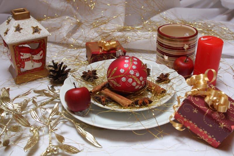 Christmas table stock photography