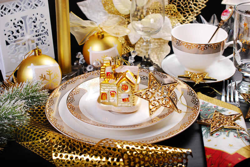 Christmas table decoration in glamour style stock photo