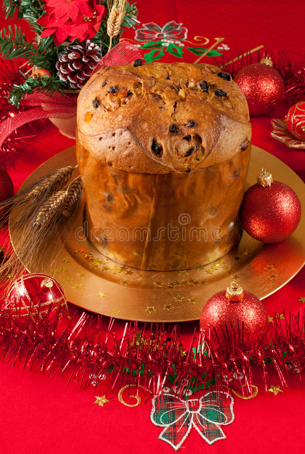 christmas table with panettone royalty free stock photography