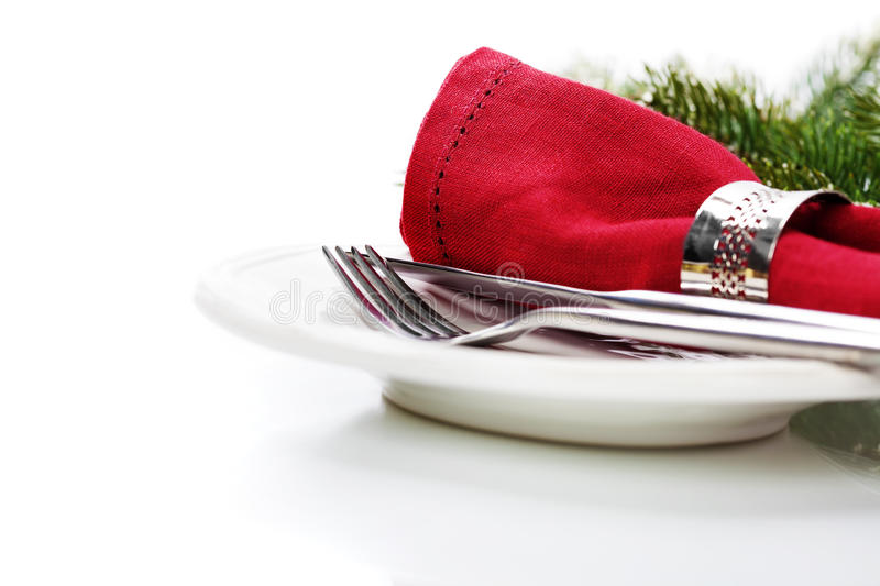 Christmas table place setting royalty free stock image